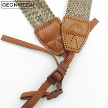 Adjustable Cotton Leather Camera Strap Shoulder Neck Belt DSLR Cameras Strap For