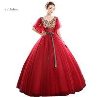 ruthshen New Vestido De Quinceanera Rosado Ball Gowns Red Quinceanera Dresses Vintage Appliques Prom dress for 15 Teen