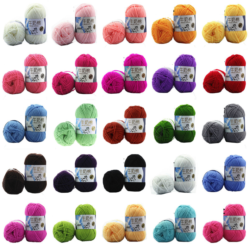 New Multi-Colors Mixed Job 5pcs/Lot 50g Hand Knitting Crochet Milk Fiber Hand Dyed Smooth Super Soft Baby Cotton Wool Yarn