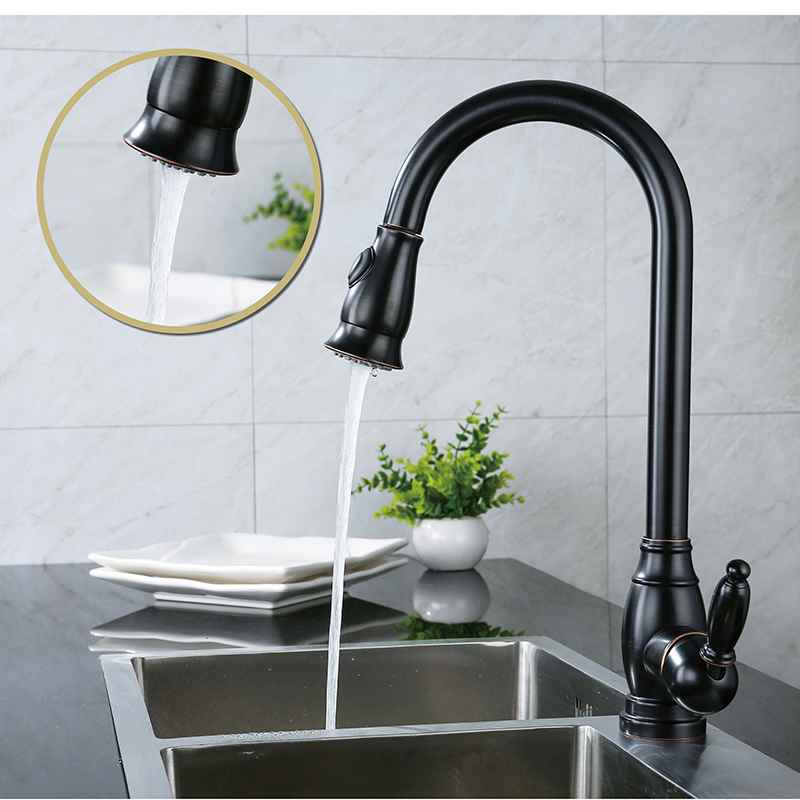 LOY Brass Singel Lever High Arc Pull Down Kitchen Faucet With Retractable Pull Out Wand, Swivel Spout Polished Brass Oil  Rubbed