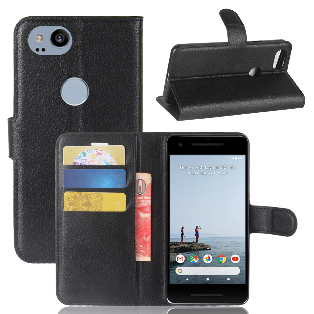 10Pcs/Lo Litchi Grain Wallet Leather Case Stand With Card Holder For Google Pixel 2/ Pixel XL 2