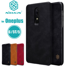 NILKIN Capa for Oneplus 6 5T 5 Case Nillkin Qin Retro Luxury Flip Soft PU Leather Phone Bag Back Cover for One Plus 6 5T 5 Cases