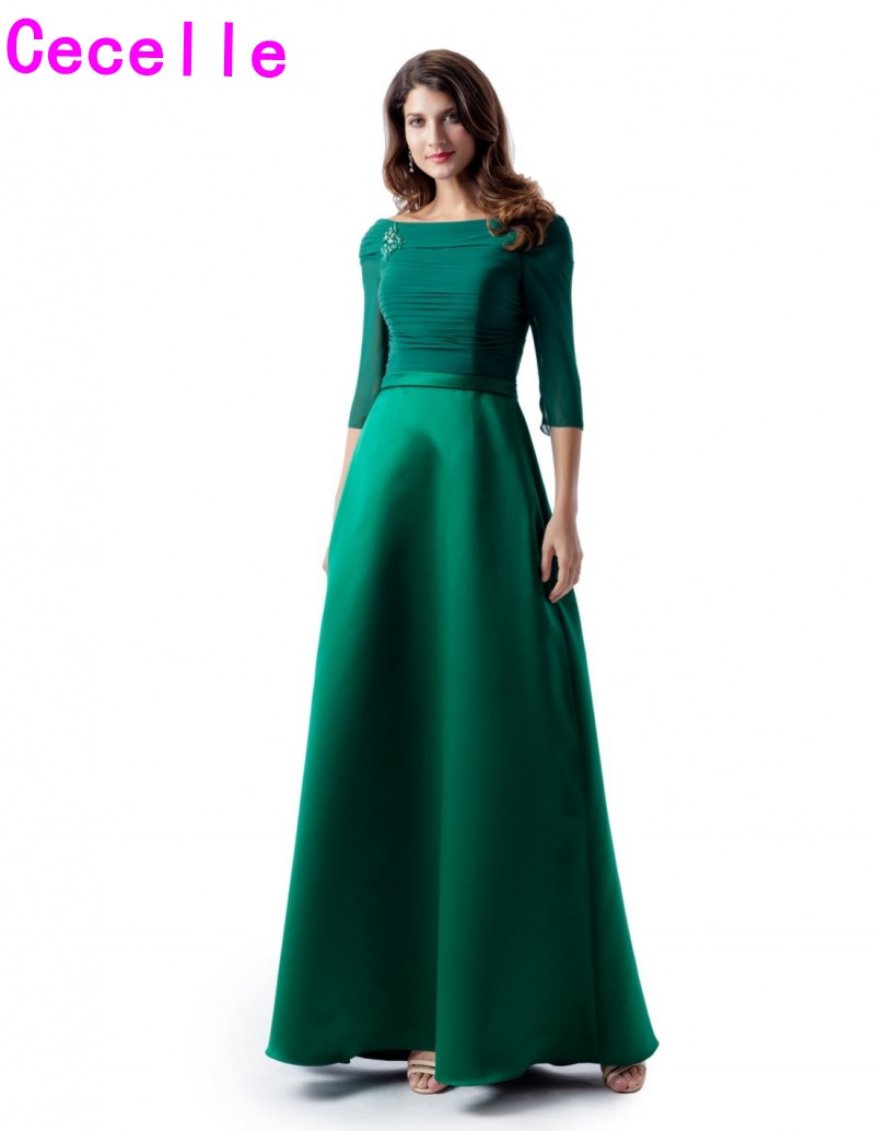 Green Chiffon Satin A-line Long Modest   Bridesmaid     Dresses   With 3/4 Sleeves Off the Shoulder Women Formal Wedding Party   Dress