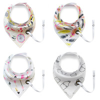 New Arrivals 4 PCS New Fashion Baby Bibs Easy To Carry Pacifier With Rope Print Infant