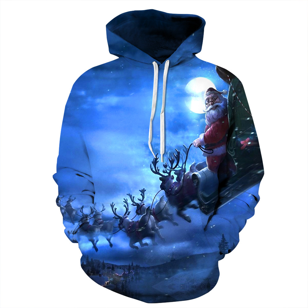 Santa Sleigh Digital Printing Hoodies Couple Large Size European And American Baseball Suits Blue Hedging Leisure Hoodies