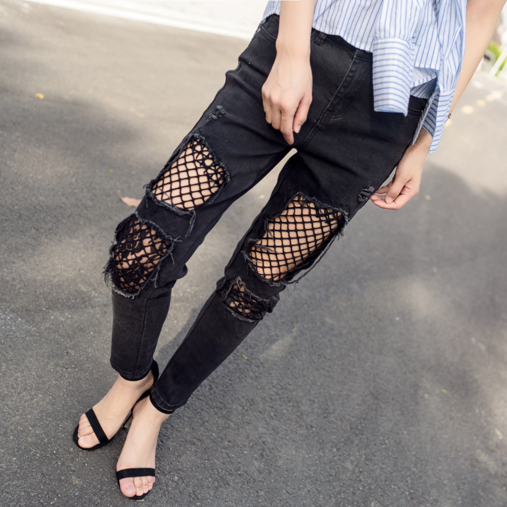 2017 New Fashion Women Jeans Retro Style Lace Grid Ripped Hole Denim Stretch Pencil Pants Casual Mid waist Full-length Trousers 2017 fashion women jeans retro style floral embroidery ripped hole denim pencil pants vintage mid waist ankle length trousers