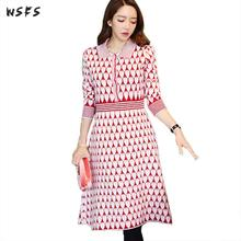 Autumn Knitted Dress Pink Heart Print Full Sleeve Women Dress Vintage  Sequined Office Bodycon Sexy Party 2200bf46f566