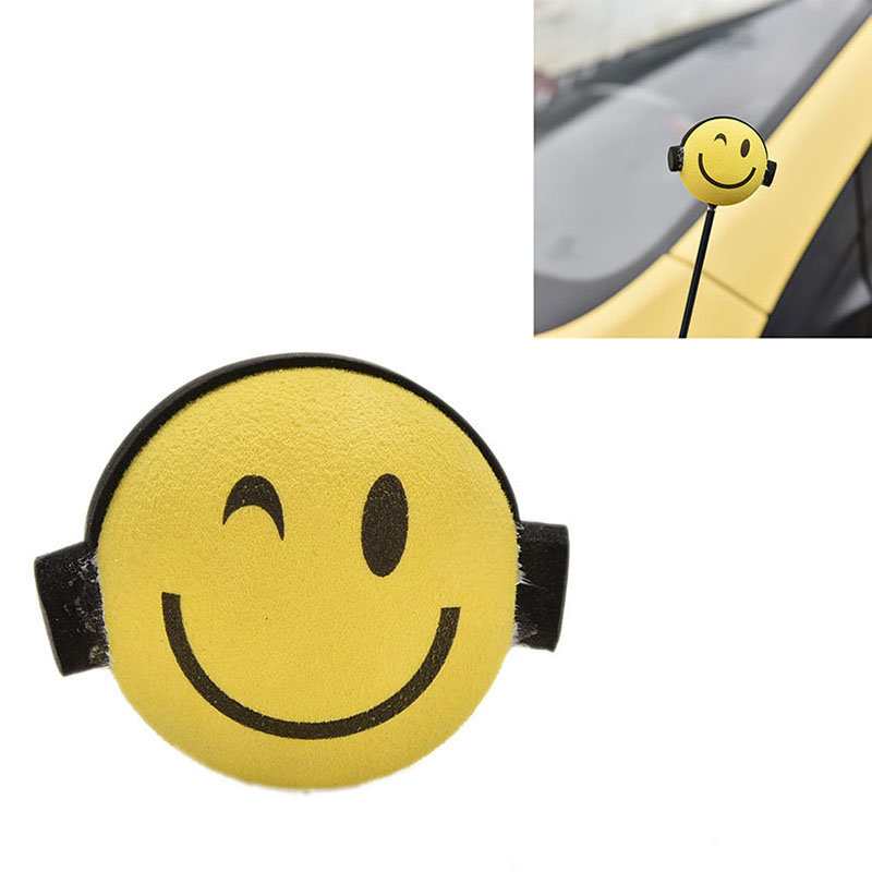 Mayitr Car Antenna Topper Yellow Smile Happy Face Expression Cute Cartoon Doll Antenna Balls EVA Aerial Toppers Car Roof Decor