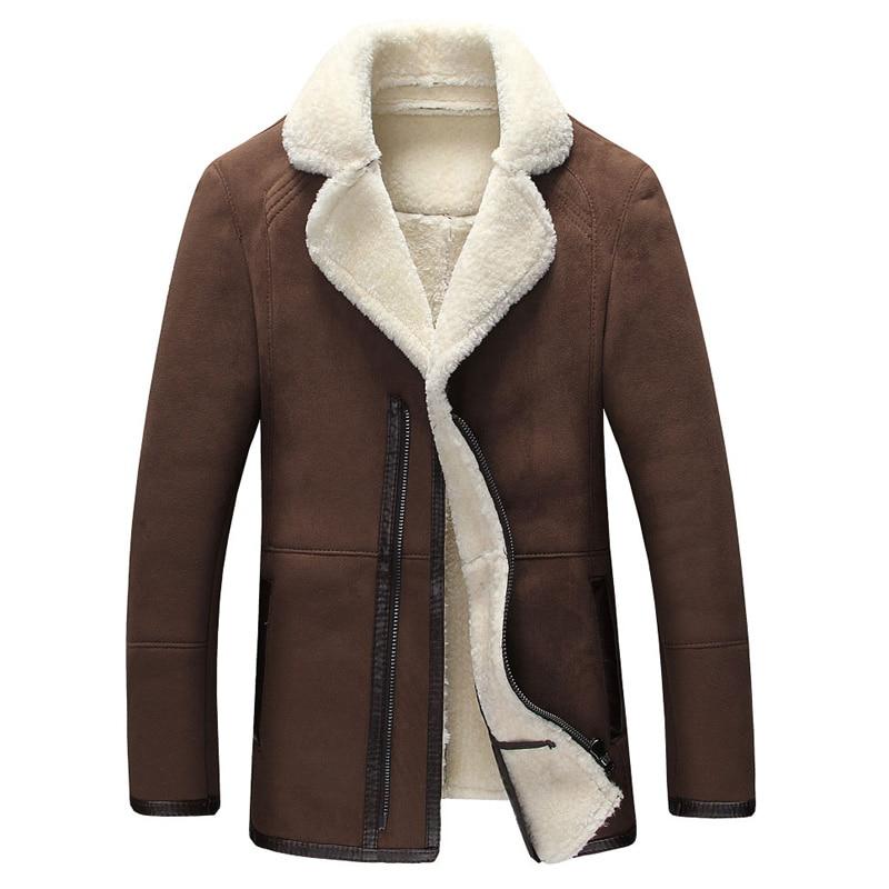 European Style Mens Fur Leather Jackets XXXXL Winter Style Men