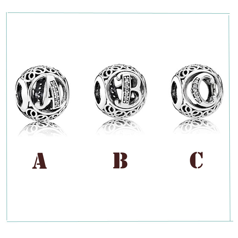100% 925 Sterling Silver Beads Charms Sets Vintage A B C Charm With Clear Zircon DIY High Quality MakingJewelry Drop Shipping
