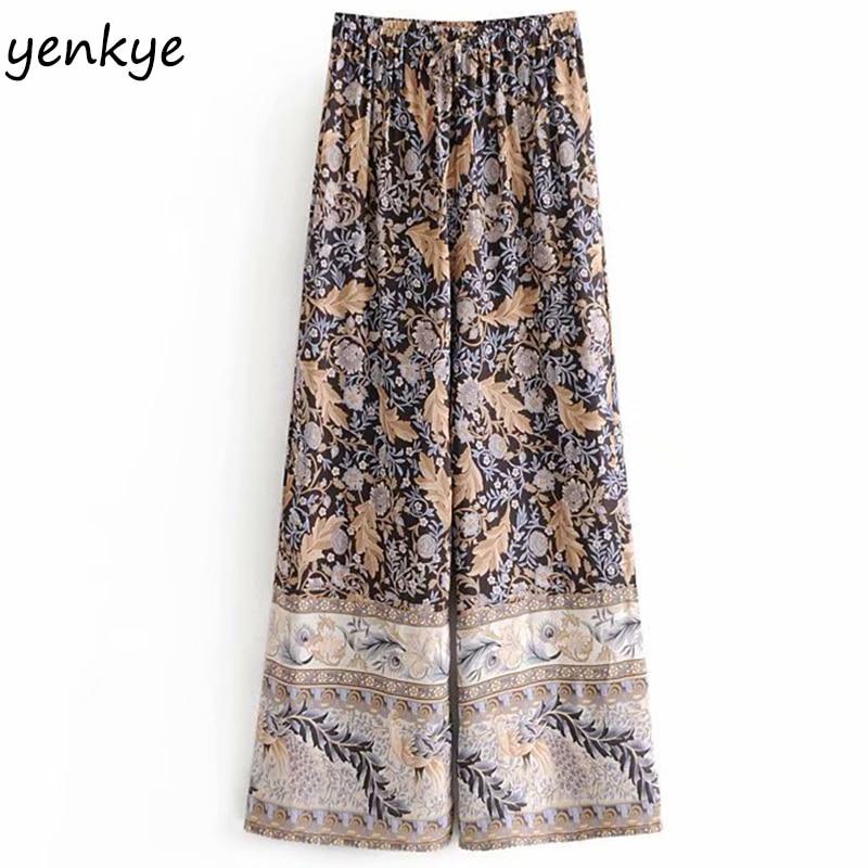 2019 Women Vintage Print   Wide     Leg     Pants   Lady Drawstring Elastic High Waist Summer Casual Trousers DJF8225