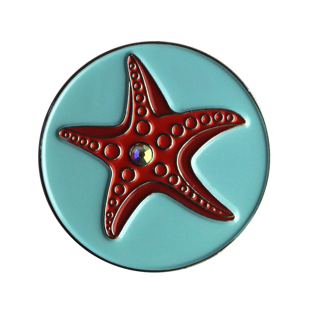 PINMEI Lot Of 5 Starfish Golf Ball Mark Sets Accessories Markers- Fit Magnetic Hat Clips(cap Clips) & Magnetic Divot Repair Tool