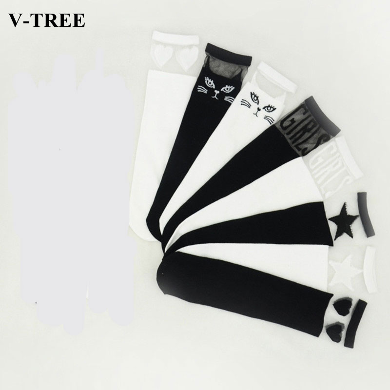 V Tree Fashion Lace Stitching Baby Knee High Socks Black