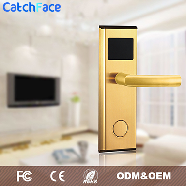 Golden Color Stainless Steel Intelligent Door Lock  Hot Sale Digital Smart Door Lock   RFID  Card Hotel Door Lock