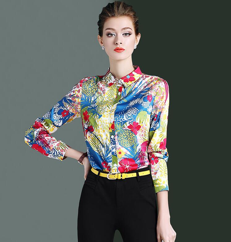 Haute qualité! Femmes marque originale printemps décontracté fleur imprimé chemise femme manches longues OL chemise chic blouse hauts TB745