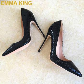 Black/White Snakeskin Leather Women High Heels Pumps 8CM 10CM 12CM Stilettos Sexy Ladies Shoes Office Commuting Thin Heels