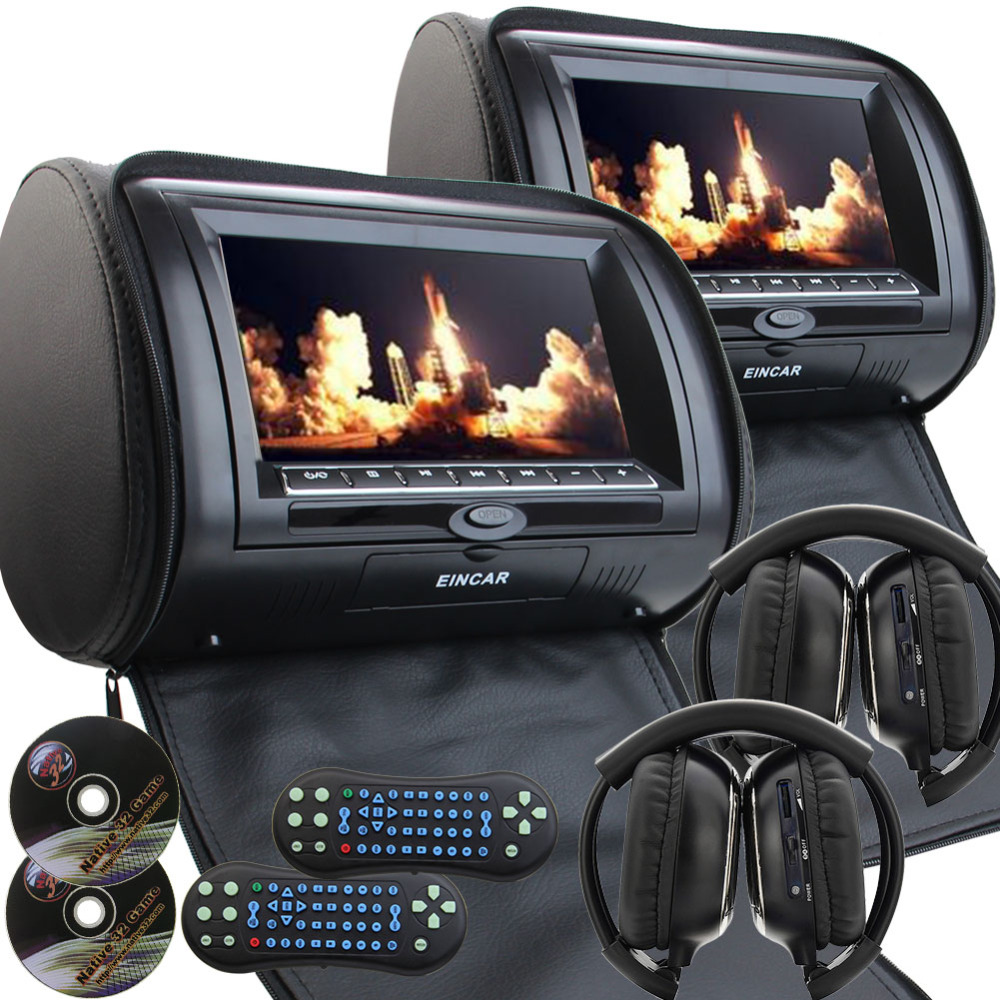 Pair of 9 Car Headrest cd  DVD Player with TFT LCD Digital Screen Auto Monitor support USB IR FM Transmitter+two 2 IR Headphone eincar car 9 inch car dvd pillow headrest two monitor lcd screen usb sd 32 bit game fm ir multimedia player free 2 ir headphones