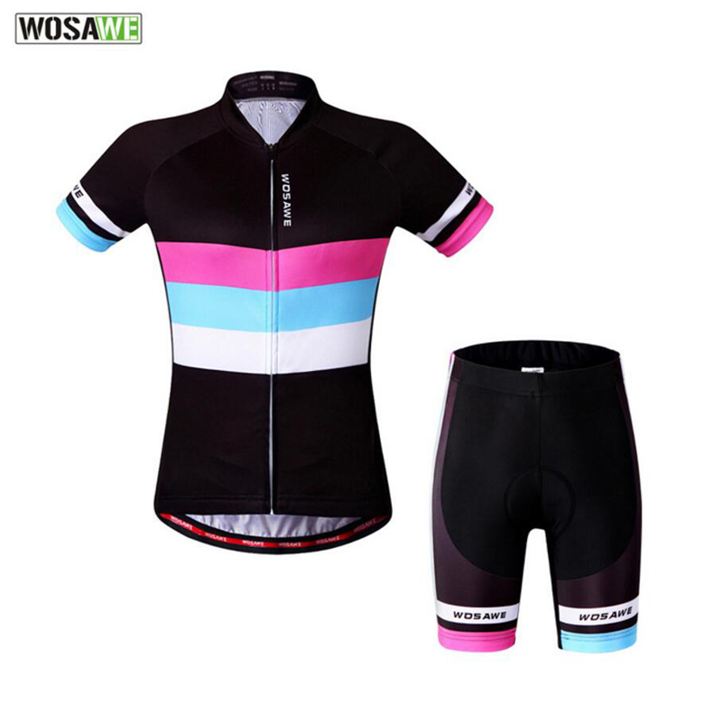 WOSAWE Women Cycling Jersey Breathable Short Sleeve Jerseys 3D Padded Bicycle Clothing Summer Breathable Cycle Wear Shirt