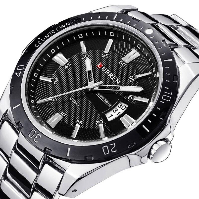 Relojes de marca de lujo para hombre, relojes de pulsera de cuarzo CURREN, deportivos, militares, de acero, de buceo, reloj informal de 30 m, reloj masculino