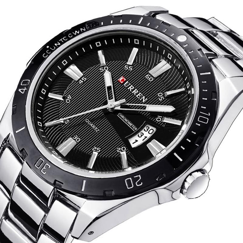 Relojes hombres reloj de marca CURREN de deporte de cuarzo militar de acero completo para hombre relojes de buceo 30 m Casual reloj masculino