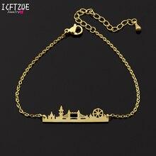 ICFTZWE Unique London Cityscape Gold Color Pulseira Hand Chain Bracelet Stainles