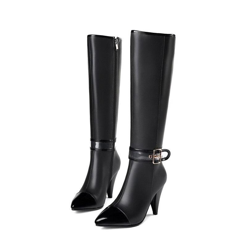 MORAZORA 2020 nouveauté en cuir véritable genou bottes femmes bout pointu automne hiver bottes mode zip noir dames chaussures-in Bottes hautes from Chaussures    2