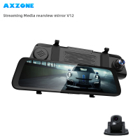 AXZONE V12 Stream Rear View Mirror GPS 10 Rear view cam Dash Cam Registrar Video Recorder Dual Car cam 1080P Super Night Vision