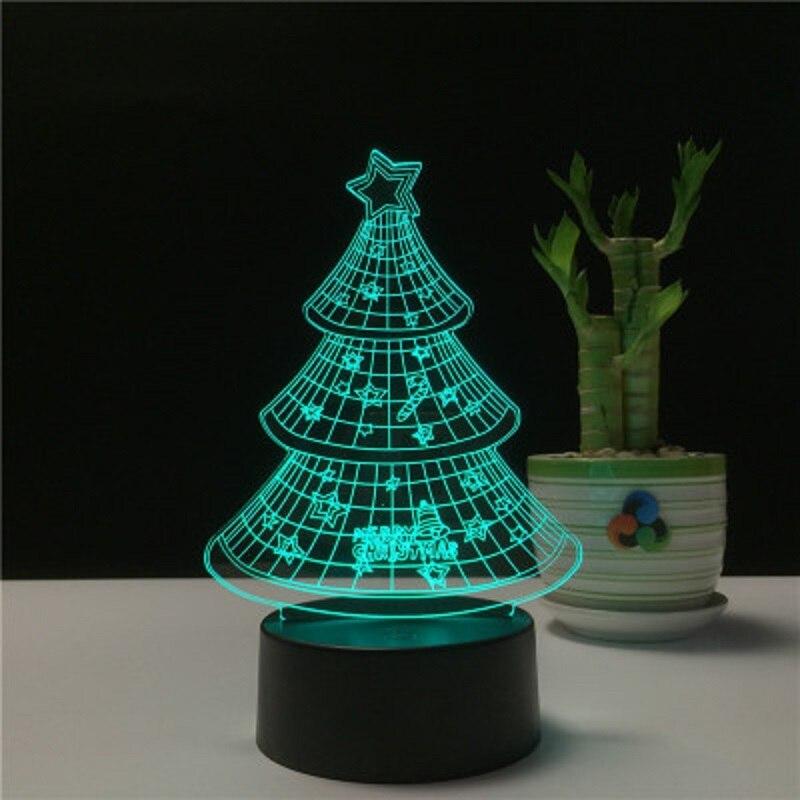 Noël ornement cadeau créatif led3D veilleuse en gros bijoux personnalisés stéréo 3D base lumière anniversaire cadeau lampe