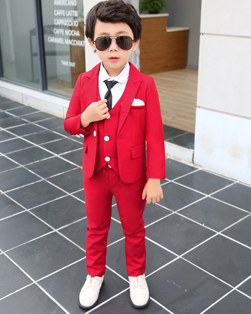 Good Quality Boy Red Suit Wedding Clothes Coat+Pants Kids Costume Stage Performance Host Show Boy Party Suits Suits 90-140