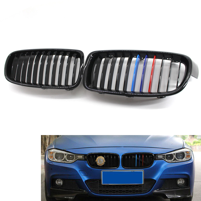 Front Kidney Grille Gloss Black M Color For Bmw F30 F31 Sedan Wagon