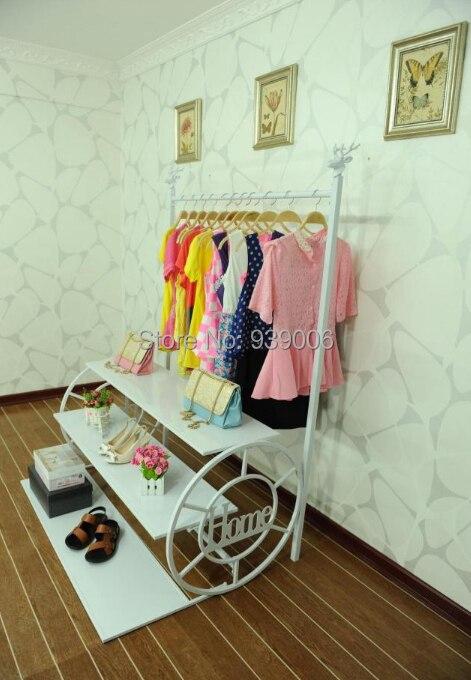 Men and women fashion clothing racks display shelf Wrought iron clothes rack