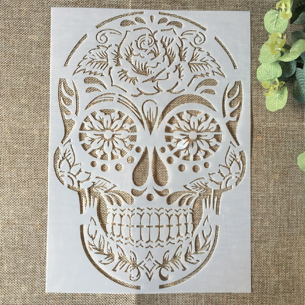 29*21cm Vintage Skull DIY Layering Stencils Wall Painting Scrapbook Coloring Embossing Album Decorative Paper Card Template