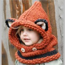 Зимняя Детская шапочка ручной работы с лисьими ушками, шапка, шарф, комплекты для От 1 до 10 лет, детские шарфы для девочек