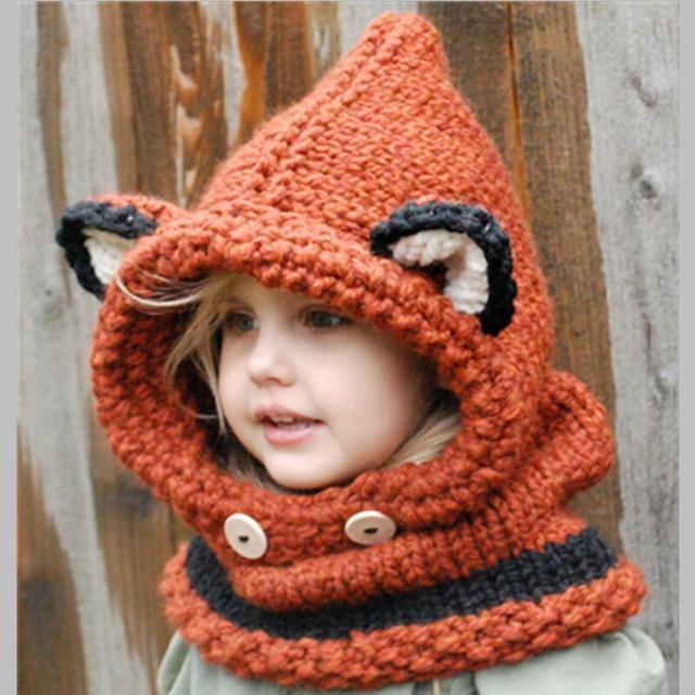 2016 Winter Kids Fox Ears Handmade Beanie Hat Scarf Sets For 110