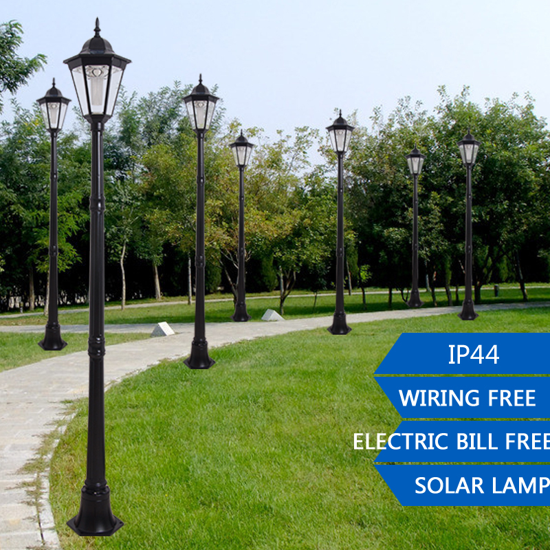 2.2m Outdoor LED Solar Garden Post Light Waterproof Pillar Lamp For Garden  Decoration Path Park