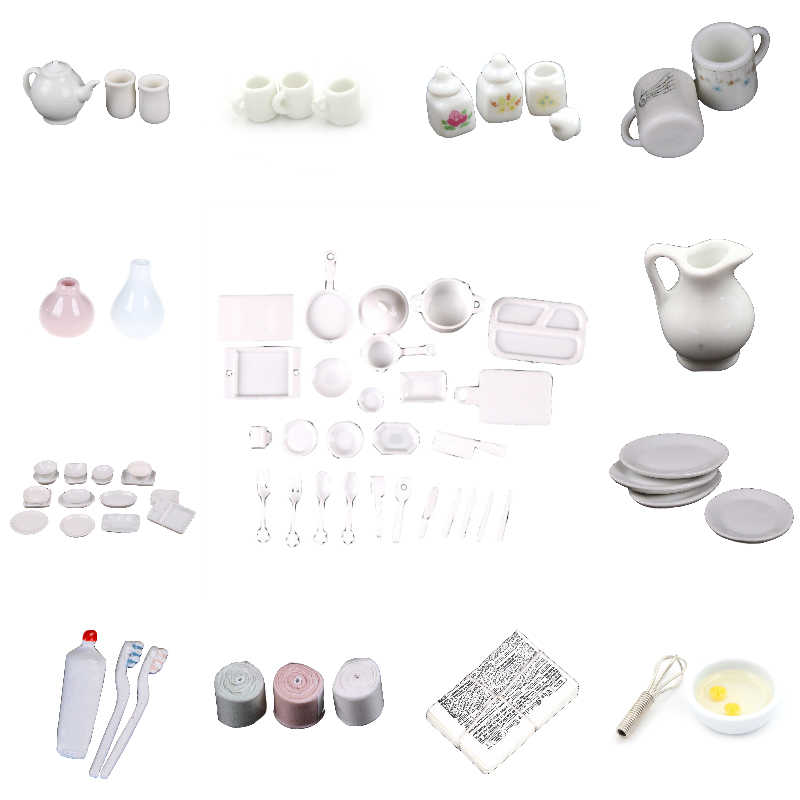 1:12 White Dishes/Cups Mugs/Toothpaste/Goddess Statue/Tissue Tableware Miniature Barbie Doll House Accessories Furniture Toys