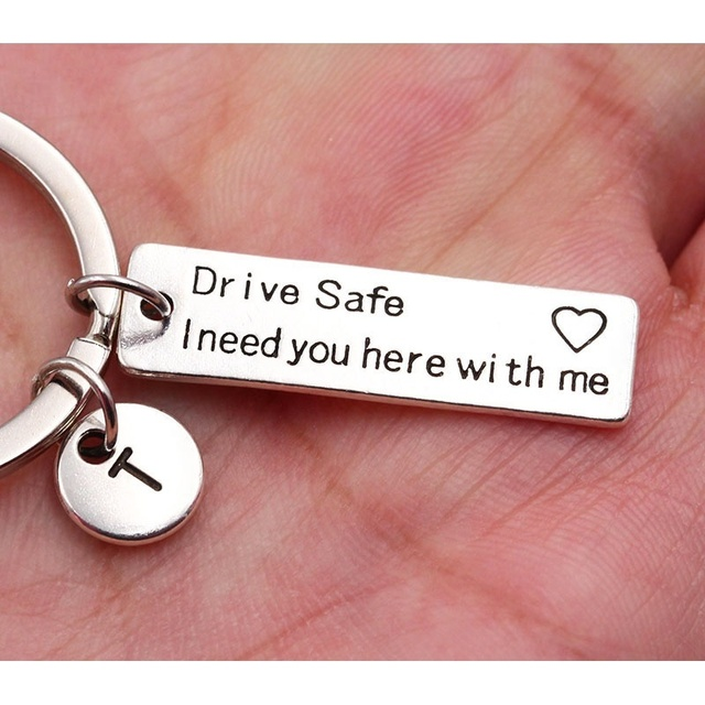 Drive Safe I Need You Here With Me/Couples Keychain/Engraved Keychain/Lettering A-Z Keychain/Husband Gift/Boyfriend Gift 3