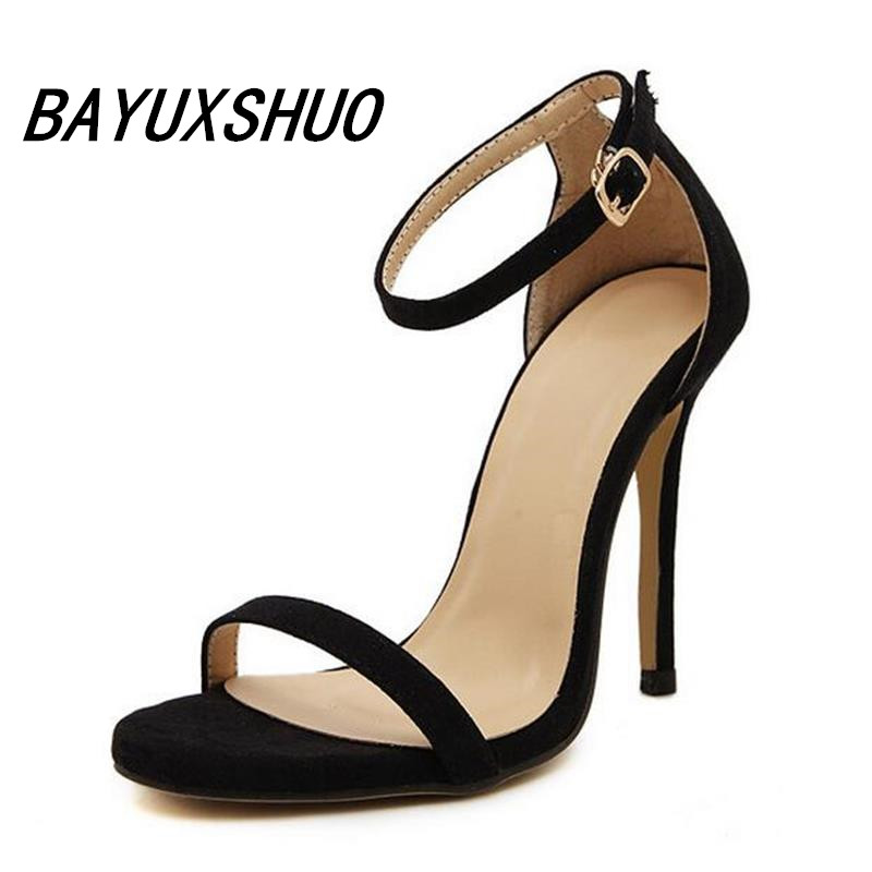 BAYUXSHUO Summer Style Women Sandals High Heels Shoes Ladies Sexy Open toe Ankle buckle Stiletto Heels OL work shoes Plus size new ankle strap open toe high heels sexy ladies shoe women summer gold silver black sequins leather sexy sandals shoes smybk 022