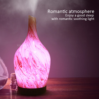 100ml Electric Marble Glass night Light Changing Color Humidifier 7 colors LED 3D Ceramic vase Electric Diffuser Mist Maker