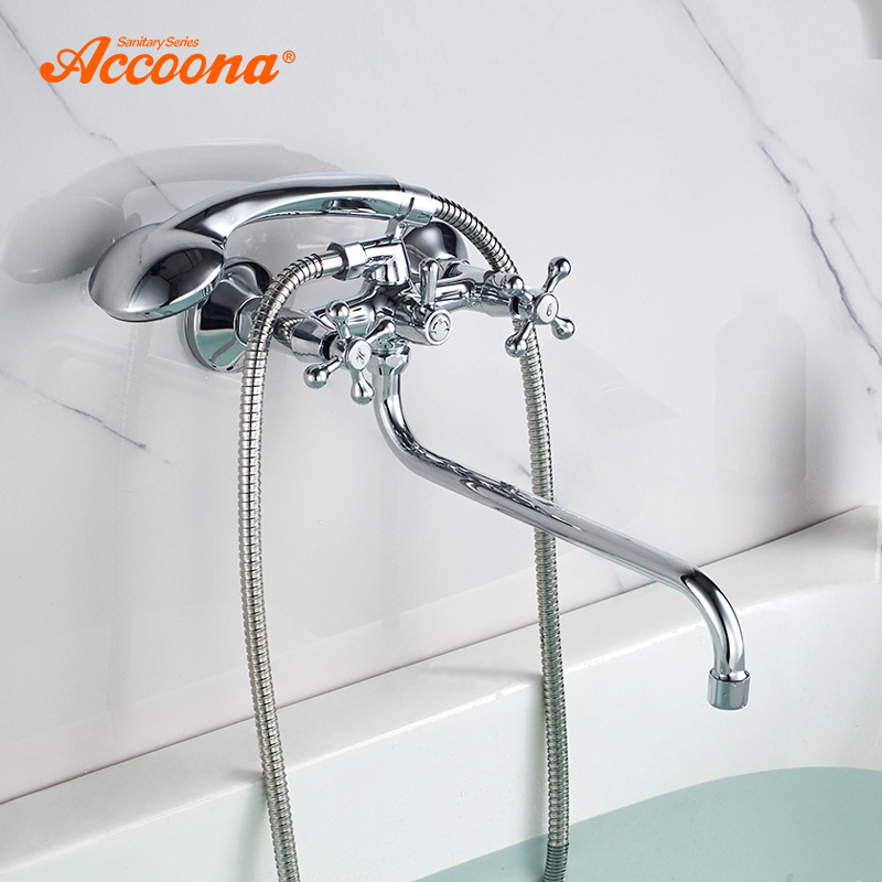 Accoona Chrome Bathtub Faucet Bathroom Bathtub Shower Set Wall Faucet Brass Bathtub Sink Mixer Water Mixer Hand Shower A7576 gappo 1set bathroom faucet accessories faucet brass body bathtub sink mixer cold hot water faucet in hand showerg2211
