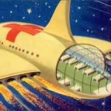 Estrella de la Cruz Roja Sci-Fi ilustración niños arte Vintage decorativo cartel de papel Kraft lienzo cuadro adhesivo para pared decoración del hogar regalo