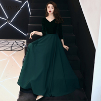 weiyin Saudi Arabic Black Sequins A line Evening Dress Long Sleeves Off Shoulder Elegant Women Formal Dress Party Prom Dresses