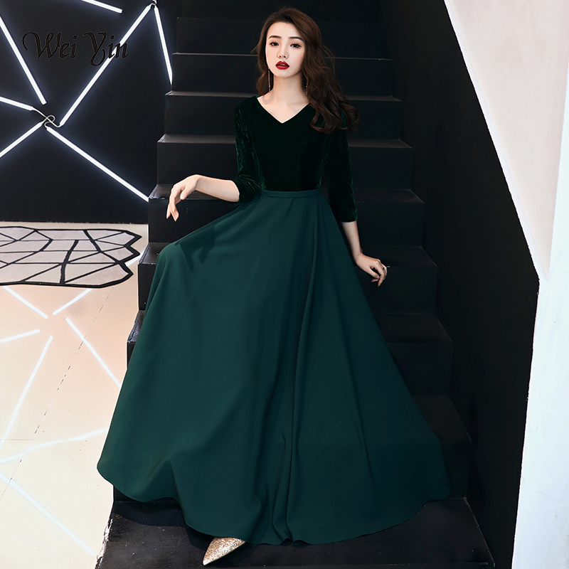weiyin Saudi Arabic Black Sequins A-line   Evening     Dress   Long Sleeves Off Shoulder Elegant Women Formal   Dress   Party Prom   Dresses