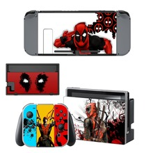 Deadpool Film Decal Vinyl Skin Sticker for Nintendo Switch NS Console + Controller +Stand Holder Protective Skin Sticker brush design protective decal skin sticker for nintendo 3ds xl 2014