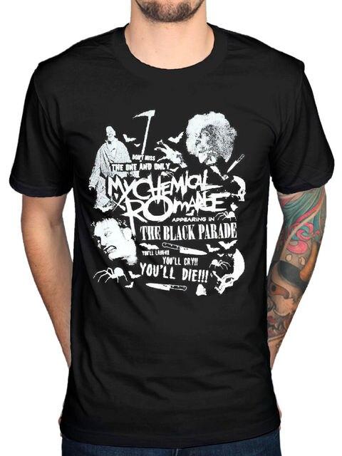 Offizielle My Chemical Romance Scary T-Shirt Gerard Weg Schwarz Parade Neue Merch Herren 100% Baumwolle Plus Größe top t