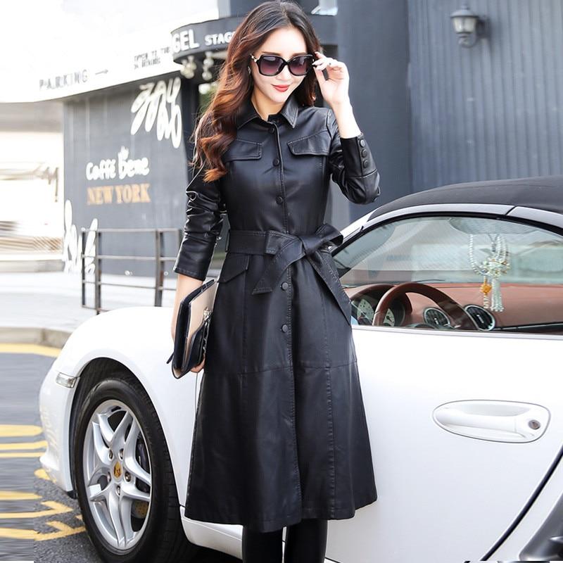 Women Long Leather Jacket 2019 New Fashion Ladies Elegant Washed PU Leather Coats Trench Female Outerwear