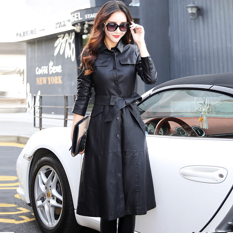 Women Long   Leather   Jacket 2019 New Fashion Ladies Elegant Washed PU   Leather   Coats Trench Female Outerwear With Belted Plus Size