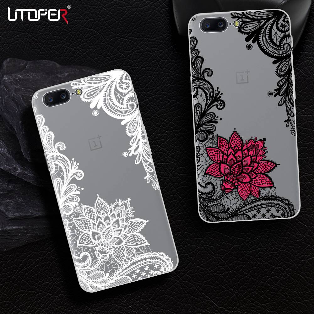 UTOPER Lace Flower Phone Case For One Plus 5T Case Silicone Cover For OnePlus 5T Case For One Plus 5 T Coque For OnePlus 5 A5000