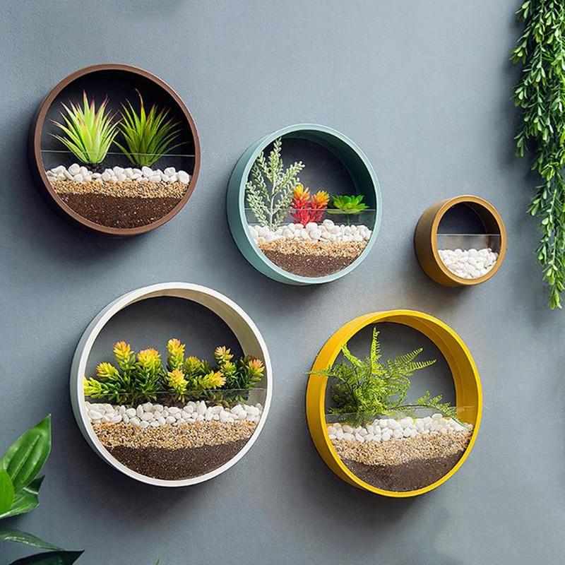Creativo de hierro de Metal de la pared arte florero casa colgando cesta de la flor de decoración adorno forma redonda de Color sólido flor titular jarrones