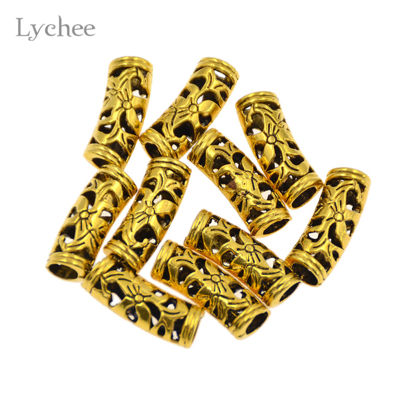 Lychee 10pcs/Lot Gold Color Floral Hollow Metal Hair Braid Dread Dreadlock Beads Clips Cuff Headwear Jewelry For Men Women